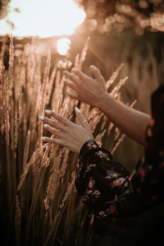 Kobieca i męska dłoń gładzi trawę podczas zachodu słońca